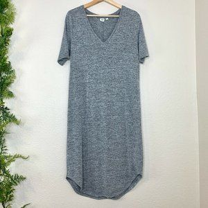 Gap Softspun Midi Jersey Knit Shirt Dress V-Neck M